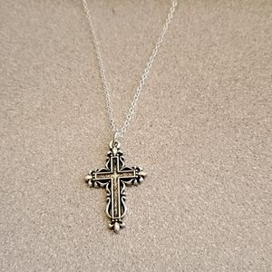Antiqued silver cross necklace pendant NWT
